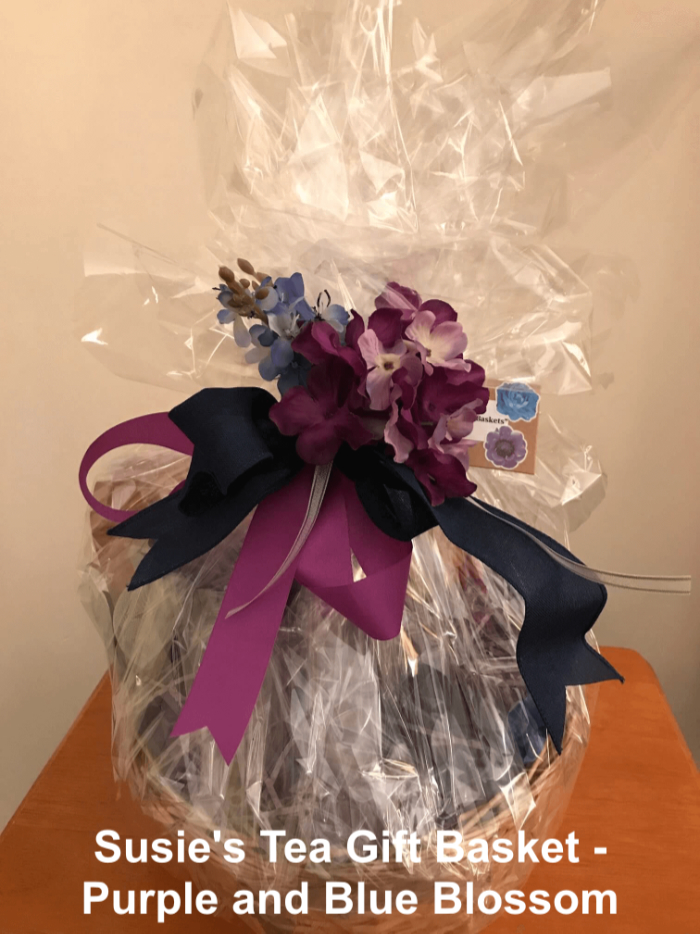 Tea Gift Basket by Susie - Purple, and Blue Blossom