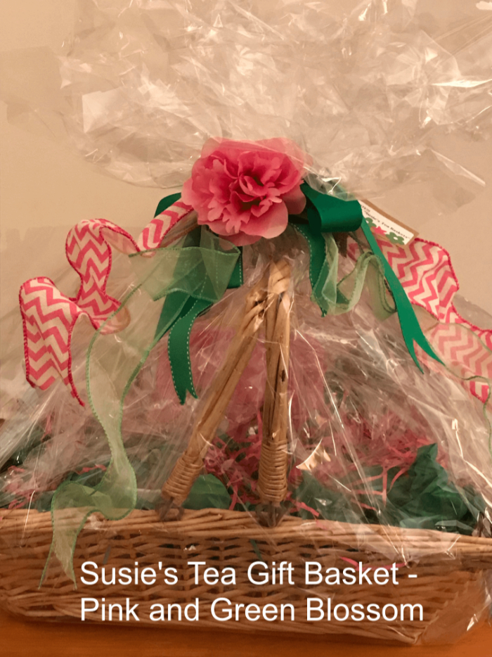 Tea Gift Basket by Susie - Pink, and Green Blossom