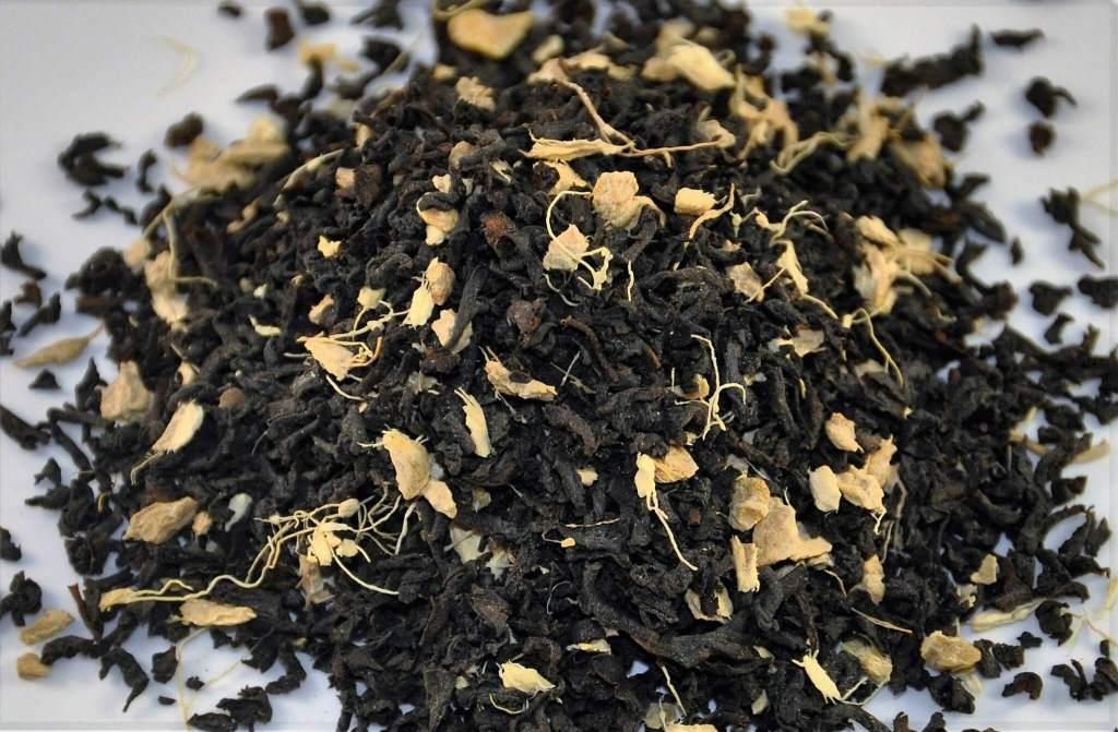 Ginger Organic Tea, Embassy House Blend,  Loose Black Assam Organic Tea With Shredded Ginger Root